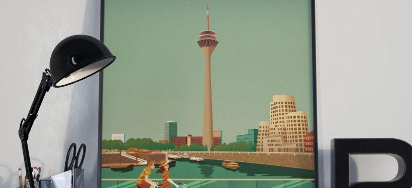 gerahmtes Düsseldorf Poster