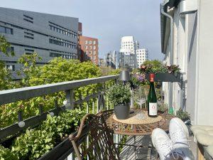 Wir machen es uns auf dem kleinen Balkon gemütlich nach getaner Arbeit | 8 Tipps für euren grüneren Balkon mit Bogie's | Mr. Düsseldorf 2021