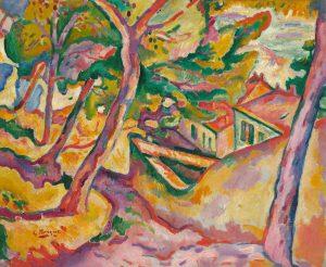 Georges Braque, Landschaft von l'Estaque, 1907 | Mr. Düsseldorf |Düsseldates |Foto: bpk / The Art In-stitute of Chicago / Art Resource, NY und VG Bild-Kunst, Bonn 2021